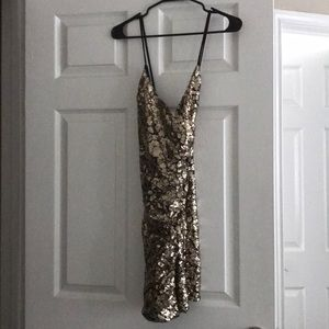 Nasty Gal Gold Sequin Mini Dress